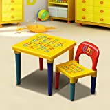 Popamazing–Maletín de niños muebles de los niños alfabeto aprender y jugar ABC juego de mesa + silla educativo actual
