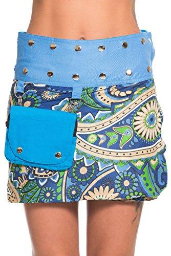 Mini gonna in colori alla moda con bottoni azzurro 3