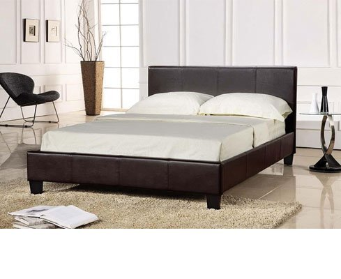 King Size Chocolate Brown Bed Frame 5FT Faux Leather - Prado