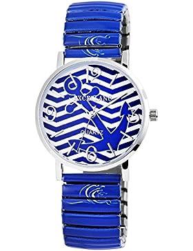 Excellanc Uhr blau mit Anker Motiv Damenuhr analoge Zugband Armbanduhr Quartz