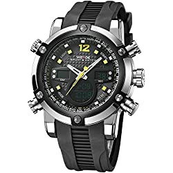 Alienwork DualTime Analogue-Digital Watch Chronograph LCD Wristwatch Multi-function Polyurethane black black OS.WH-5205J-05