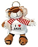 Shopzeus Peluche tigre porte-clé avec J'aime Zazie (Noms/Prénoms)