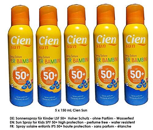 Cien Sun Transparentes Sonnenspray für Kinder LSF 50+ Hoher Schutz UVA + UVB / 5 x 150 mL