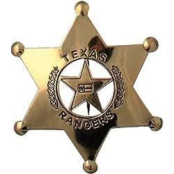 Sheriffstern Texas Ranger Rangerstern Messing mit aufgelöteter Anstecknadel 7cm