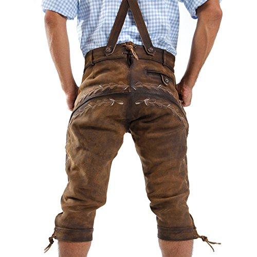 ALMBOCK Lederhose Herren Tracht Kniebund | Lederhose Herren braun aus feinem und antikem Nubukleder | Trachtenhose alt Herren - Trachtenlederhose 52 - 6