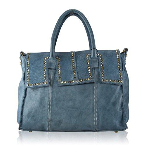 ZETA SHOES Borsa Donna in Vera Pelle Effetto Vintage Borchie 36 x H 27 x 18 MainApps Blu