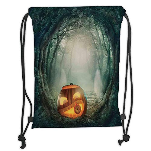 Icndpshorts Halloween Decorations,Scary Halloween Pumpkin Enchanted Forest Mystic Twilight Party Art,Orange Teal Soft Satin,5 Liter Capacity,Adjustable String ()