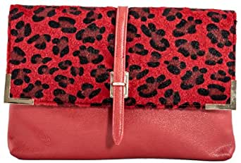 Girly HandBags New Fur Leopard Clutch Bag Animal Print Furry Leather Envelope Evening Cheetah Red