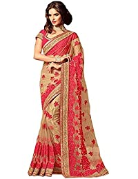 I-Brand Beige Color Net & Raw Silk Fabric Embroidery Work Saree ( New Arrival Latest Best Choice And Design Beautiful...