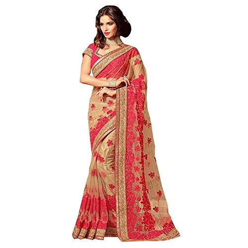 I-Brand Beige Color Net & Raw Silk Fabric Embroidery Work Saree ( New Arrival Latest Best Choice and Design Beautiful Sarees and Salwar suits and Dress Material Collection For Women and Girl Party wea