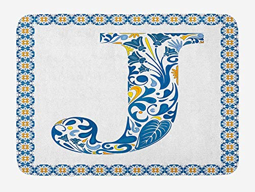 VTXWL Letter J Bath Mat, Illustration of Capital Letter J in Flower Pattern Design Ornamental Print, Plush Bathroom Decor Mat with Non Slip Backing, 23.6 W X 15.7 W Inches, Blue Yellow Orange (Cupcake Liner Lime Green)
