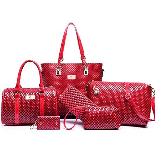 Dame Diamantmuster Handtaschenschulterbeutel Handgelenkhandtasche Schulter Kurierbeutel Mappe Kosmetischer Beutel Schlüsselkasten Red