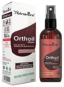 Nutree Pure Orthoil Non-Stick Joint Pain Relief Ayurvedic Oil with Spray - 100 ml (Pack of 2)