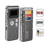 Wiiguda@ Dictaphone enregistreur vocal numérique, enregistreur rechargeable portable et enregistrement activé par la voix avec microphone, enregistreur multifonctionnel, (8GB, MP3, USB).