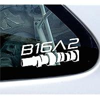 B16A2 cam style-Adesivo per Honda Civic, CRX, EF, EK EG 1,6 VTi VTEC (Adesivo Vtec)
