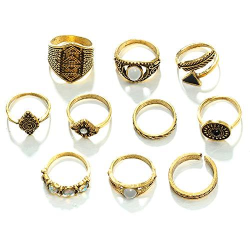 m Vintage-Stil, Verlobungsring, Ehering, Fingerring, Fingerring, Geschenk, für Damen, 10 Stück, Gold, 1.8cm-1.65cm ()