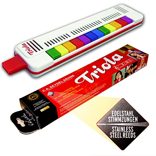 Seydel TRIOLA 12 - Neue AUSFÜHRUNG s bewährten, haltbaren Edelstahl-STIMMZUNGEN !- das Blasinstrument für Kinder mit Spielanleitung + 3 Kinderliedern mit bunten Noten zum Schnelleinstieg