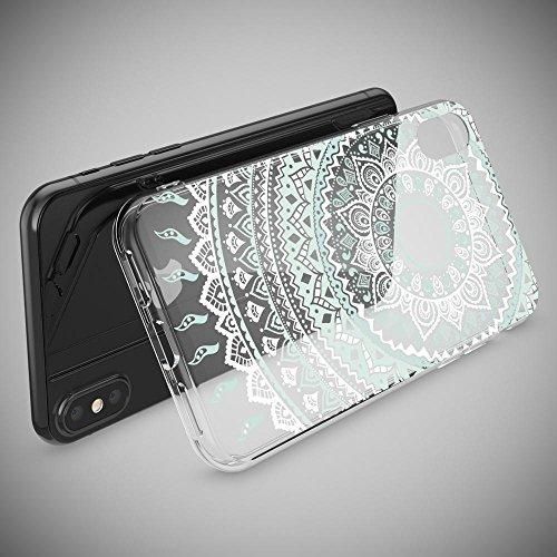 iPhone X Coque Protection de NICA, Housse Motif Silicone Portable Premium Case Cover Transparente, Ultra-Fine Souple Gel Slim Bumper Etui pour Telephone Apple iPhone-X - Transparent Mandala Bleu Turquoise