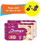 Super Champs High Absorbent Premium Pant Style Diaper (Pack Of 2) (Free Pair Of Secret And Loafer Socks) | Premium Pant Diapers | Premium Diapers | Premium Baby Diapers | Anti-rash And Anti-bacterial Diaper | (Small, 42)