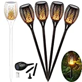 4 Stück Solar Garten Flammen Fackeln 96 LED Bis Dawn Automatische Ein/Aus(Licht Sensor),Solarlampe Gartenleuchte Garten Beleuchtung Garten Licht mit Wasserdicht IP65