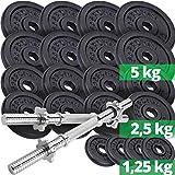 ScSPORTS 70 kg Hantelscheiben-Set Guss inkl. 2X Kurzhantel, 65 kg Gewichte (8X 5kg, 8X 2,5kg, 4X 1,25kg), extra Lange Chrom Kurzhantelstangen mit Sternverschluss