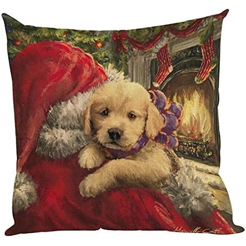 ZARU Impresión de Navidad Sofá cama cubierta de almohadas Cojín decoración del hogar (B)