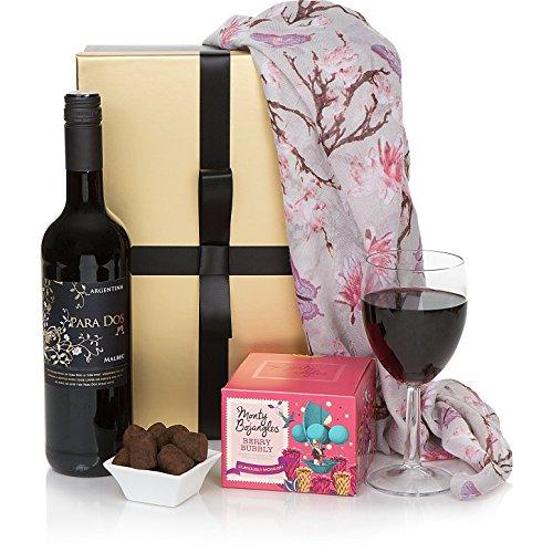 Genießer-Geschenkkorb-Set für Damen - Rotwein & Schokoladen-Trüffel - Der perfekte Geschenkkorb für Sie
