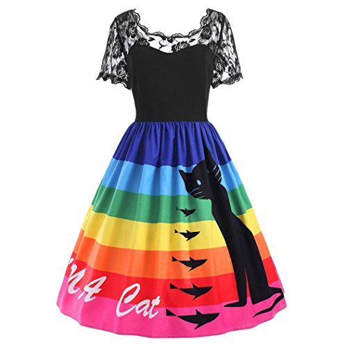 Amlaiworld Damen Sommer Frühling Retro Spitze Mini Kleid elegant bunt Regenbogen Katzen drucken...