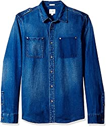 GUESS Mens Regular Fit Denim Shirt, Opulent Blue Wash, L
