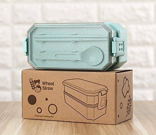 Lunchbox, Türkis - Essen überall frisch genießen - Bentobox Brotdose Brotbüchse aus umweltfreundlichem biologisch abbaubarem Material mit zwei Fächern und Besteck - Mikrowellentauglich