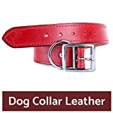 #3: PetSutra Leather Dog Collar, for Small, Medium and Large Sized Dogs, Multi Color, Multi Size (Medium, Red)