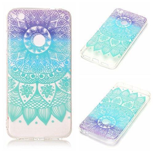 Qiaogle Telefon Case - Weiche TPU Case Silikon Schutzhülle Cover für Apple iPhone 6 Plus / iPhone 6S Plus (5.5 Zoll) - XS35 / Blau Schmetterling + Weiß Blume XS38 / Blaue Mandala