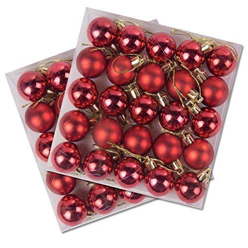 Confezione da 50 miniatura brillante & opaco albero di natale bagattelle in vari colori - rosso