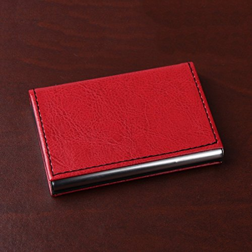 YDC05 Bester Visitenkarte-Halter-Leder-Karten-Kasten Ausgezeichneter Designer durch Y&G YDC0533-Rot, Schwarz