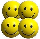 Stressballs 4 x Gelbe – Smiley Stress Ball - Antistressball ,Stressballs, Knautschball – Kleiner Ball, Grosse Stresserleichterung