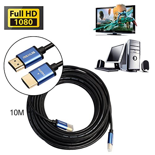 Aluminium-intercom (asiproper High Speed Aluminium HDMI-Stecker zu HDMI-Kabel 1080p, 3d, HD-1-15m 10m silber)