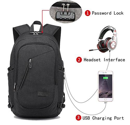 Lmeison Laptop-Rucksack mit USB-Anschluss und Anti-Diebstahl Lock & Headphone Compartment,12-16 Zoll Laptoptasche,wasserdichte Schulrucksack Unisex Daypack – Schwarz