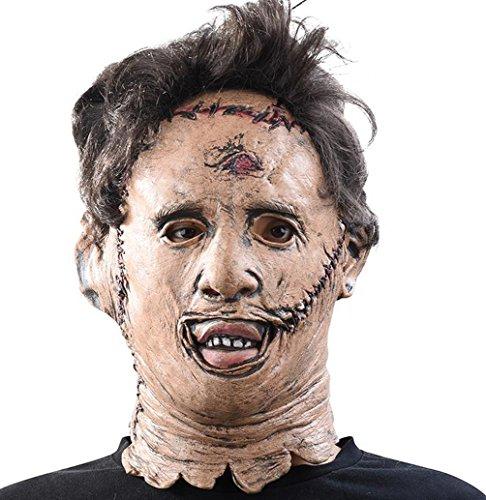ror Helm mit Perücke Latex Maske Vollkopfmaske Cosplay Zubehör für Erwachsene Kostüm Party (Leatherface Halloween Kostüme)