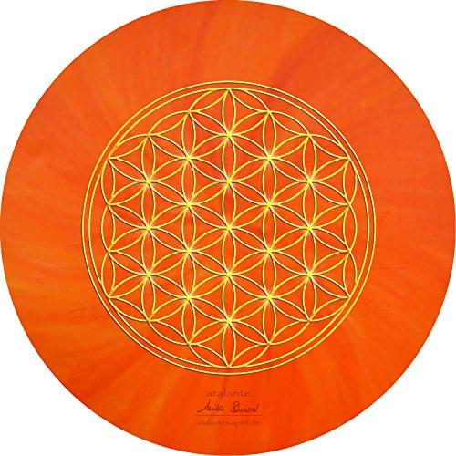 atalantes spirit - Blume des Lebens-Mauspad orange - Ø 19 cm, rund - Energie-Untersetzer Sakralchakra - MousePad-Unterseite: Moosgummi, schwarz