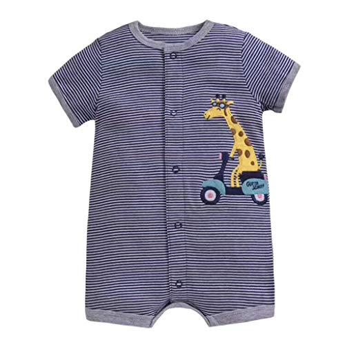 Alwayswin Baby Mädchen Jungen Cartoon Strampler Bodysuit Kleidung Kleinkind Kurzarm Spielanzug Gestreift Gedruckt Romper Sommer Mode Babykleidung Lässige Wild Overall Onesies