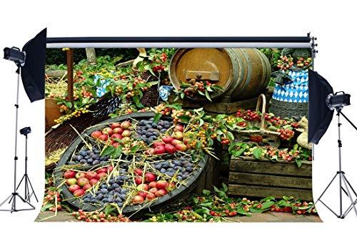 BuEnn Früchte Backdrop 7X5FT Vinyl Ländliches Farmland Roter Apfel Erntehintergründe Lucky Berry Straw Wine Bucket Herbst Gruß Fotografie Hintergrund Happy Thanksgiving Day QB86 -