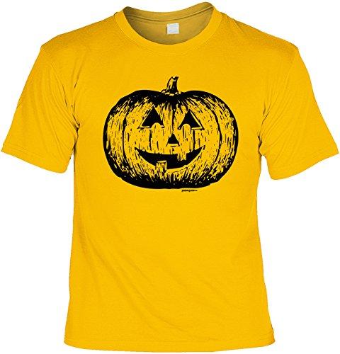 Klassischer Kürbis gelb - gruseliges Shirt als lustige Alternative zum Halloween Kostüm (Zombie-gesicht-ideen Für Halloween)