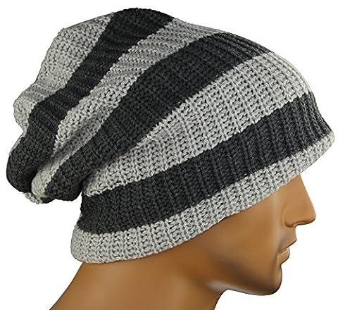 MINAKOLIFE Mens Striped Slouch Large Beanie Warm Skull Cap Hat Oversize (Gray)