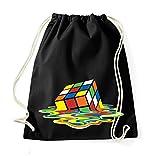TRVPPY Baumwoll Turnbeutel / Modell Cube Zauberwürfel / Beutel Rucksack Jutebeutel Sportbeutel Tasche Fashion Hipster / Farbe Schwarz