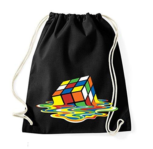 (TRVPPY Baumwoll Turnbeutel / Modell Cube Zauberwürfel / Beutel Rucksack Jutebeutel Sportbeutel Tasche Fashion Hipster / Farbe Schwarz)