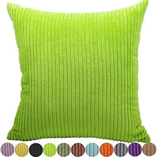 Feileah fodere per cuscini a righe velluto copricuscino a coste cuscini caso moda quadrato morbido cuscini coperture home decor federe per divani stanza letto cerniera nascosta,verde,60x60