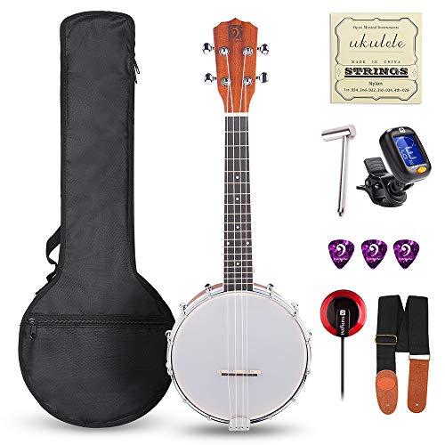 Banjo-Ukulele mit 4 Saiten von Vangoa, 58,4 cm (23 Zoll) langes Konzert-Banjos aus Sapeli-Holz, mit 3 mm gepolsterter Tasche, Stimmgerät, Plektrum, Nylonsaiten und Tonabnehmer