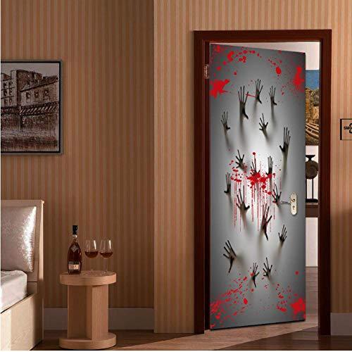 druck Schleifen Glas Badezimmertür 3D Diy Pvc Tür Aufkleber Halloween Dekoration Wandtattoos ()