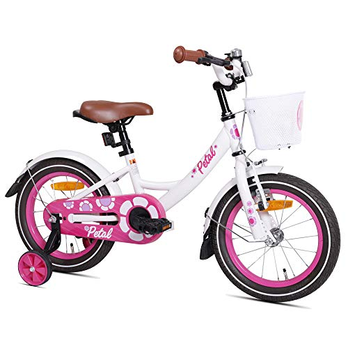 HILAND Petal 14 Zoll Kinderfahrrad für Mädchen 3-5 Jahre mit Korb, Stützräder, Handbremse und Rücktritt Weiß