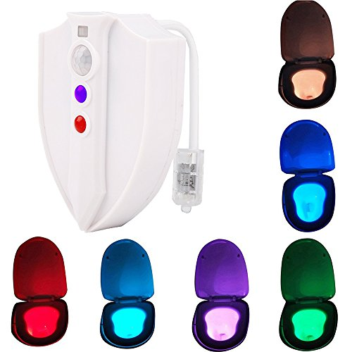 YouOKLight LED Toilette Licht 8 Farbe WC Nachtlicht Lampe Toilettendeckel Beleuchtung mit keimtötende UV-Funktion Sensor Bewegungssensor Motion Toilettenlicht Toilettenbeleuchtung für Kinder Eltern
